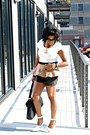 Black-leather-joie-shorts-camel-peplum-forever-21-top