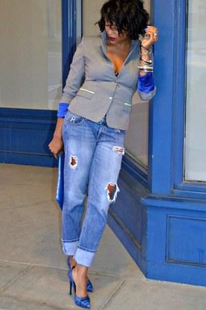 blue boyfriend jeans Fade to Blue jeans - heather gray T Tahari blazer