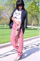 pink trouser pants - black DKNY jeans blazer - white Forever 21 t-shirt