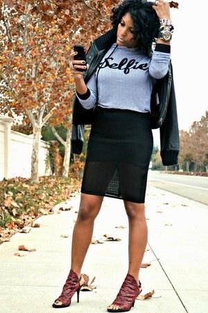 black mesh Topshop skirt - red snakeskin balenciaga heels
