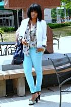 beige print H&M blouse - aquamarine Wildflower jeans - white H&M blazer