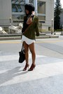 Army-green-olive-oak-jacket-black-monteau-shirt-white-zara-skirt