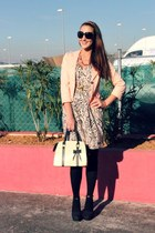peach leopard print H&M dress - black suede H&M shoes - black Gucci sunglasses