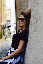 black vintage thrifted vintage sunglasses - black maxi skirt Sholaya skirt