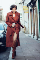 burnt orange masala Klasa coat - bronze leather Zara boots