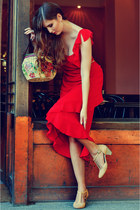 red decoupage Decoupage magic bag - ruby red vintage dress