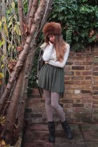 forest green American Apparel skirt - dark gray Fiorentini baker boots