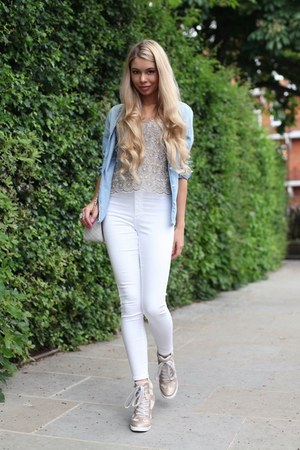 white Topshop jeans - sky blue denim Zara shirt - cream sequin Topshop blouse