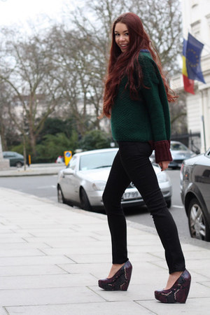 forest green Zara sweater - black J Brand jeans