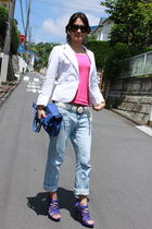 white blazer - pink t-shirt - blue jeans - purple shoes - blue purse