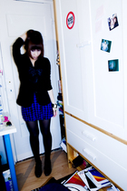 black Miss Selfridges blazer - blue Urban Outfitters skirt - black H&M boots - b