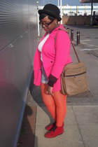 red vintage from Ebay boots - hot pink unknown brand blazer - orange Miss Selfrr