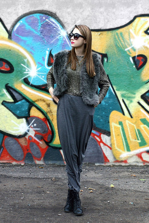 maxi reserved skirt - sequined Choies jumper - faux fur DIY vest
