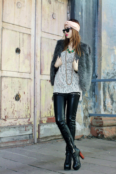 asos necklace - Ray Ban sunglasses - faux fur DIY vest - ARAFEEL cardigan