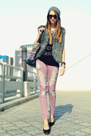 heather gray faux fur DIY vest - pink material girl jeans - black H&M top