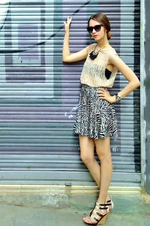 lace Topshop top - asos top - zebra print Topshop skirt - Love Republic wedges