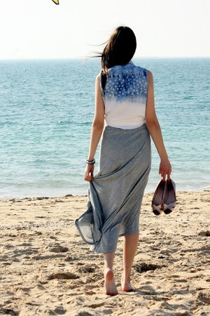 denim Bershka vest - asymmetric Zara dress - metallic H&M flats