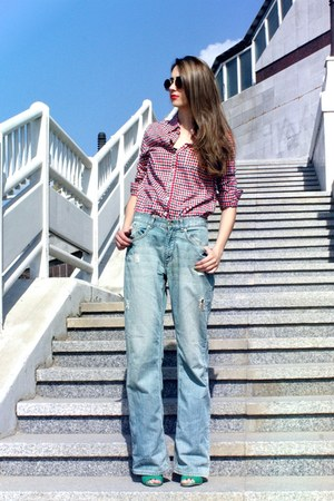 plaid new look shirt - boyfriend Pepe Jeans jeans