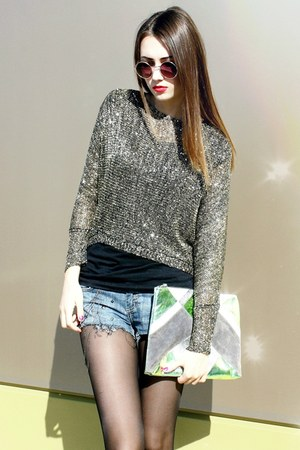 sequined Choies top - envelope clutch Topshop bag - diy D&amp;G shorts