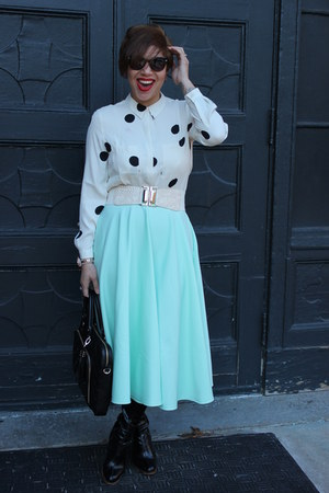 Aldo boots - Loft shirt - Aldo bag - Michael Kors watch - asos skirt