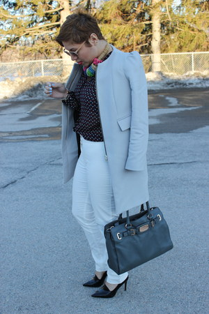 Zara coat - Michael Kors bag - Loft pants - ann taylor blouse - Zara pumps