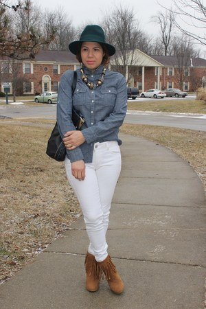 Forever 21 boots - American Eagle jeans - JCrew shirt - River Island bag