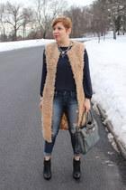 asos vest - BCBGeneration boots - American Eagle jeans - Michael Kors bag