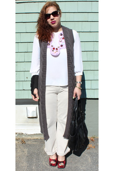 DIY necklace - Forever 21 sweater - Style & Co bag - Fossil watch