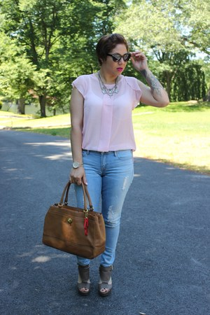 Gap jeans - coach bag - Charlotte Russe wedges - Forever 21 top - H&M necklace