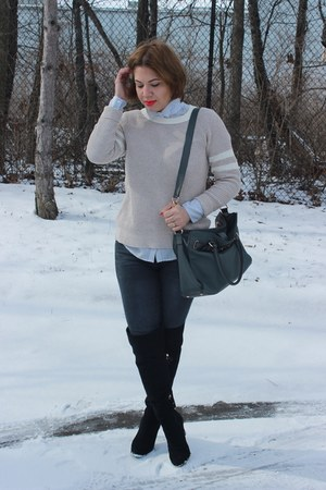 Sam and Libby boots - Gap jeans - American Eagle sweater - ann taylor shirt