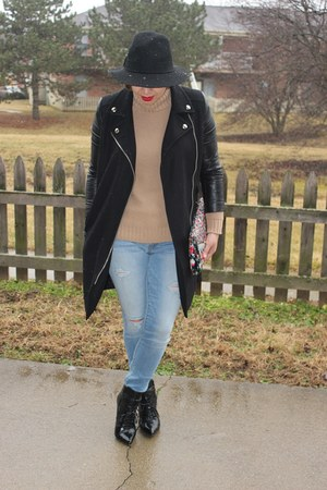 Zara sweater - ALTUZARRA boots - Forever 21 coat - American Eagle jeans