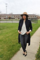 Zara coat - Gap jeans - Forever 21 hat - BCBG pumps - Loft top