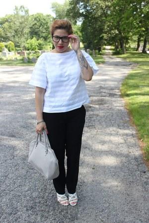H&M bag - Loft pants - BCBG sandals - Gap top - Hot Topic glasses