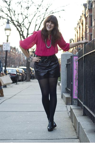 pink vintage blouse - black Forever 21 shorts - silver Charlotte Russe bracelet