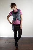 pink vintage blouse - black H&M skirt - blue Silver Jeans vest