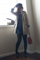 beige Old Navy coat - black H&M hat - white Target blouse