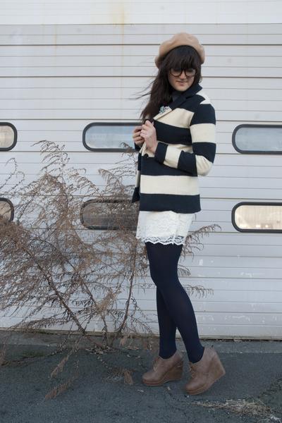 light brown Forever 21 wedges - navy Loft blazer - ivory Target skirt