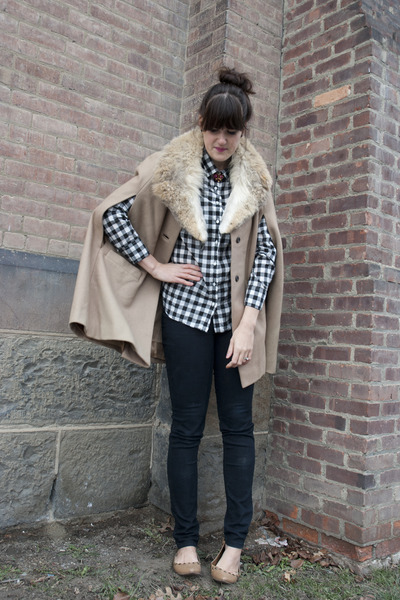 camel cape vintage coat - black Urban Outfitters jeans - white JCrew shirt - lig