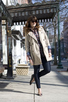 beige Old Navy coat - blue TJ Maxx jeans - black vintage shoes - orange husbands