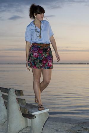 blue Lands End shirt - pink delias skirt
