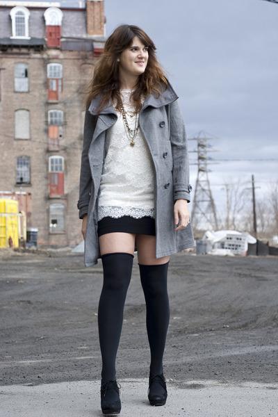 black Chinese Laundry shoes - black H&M skirt - white Forever 21 shirt