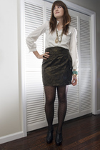 white vintage blouse - gold Forever 21 skirt - gold vintage necklace - black Ann