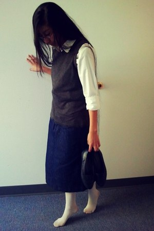 vest - tights - skirt - loafers - blouse