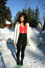Turquoise-blue-shoes-red-romper-black-skirt-cream-cardigan