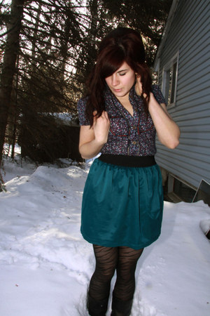 deep purple dress - black tights - teal skirt
