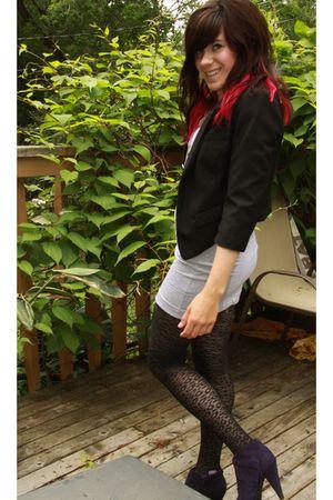 black leopard print stockings - purple shoes - black silence and noise blazer