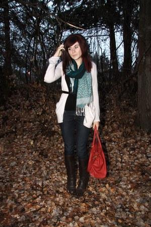 green thrifted scarf - beige Dynamite cardigan - black thrifted belt - blue Mavi