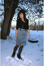 black Forever 21 top - light blue kensie skirt - black H&M tights