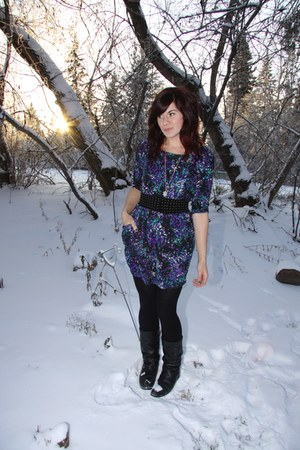 navy Forever 21 dress - black H & M belt - black tights