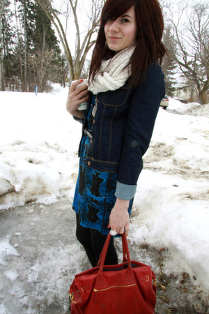 blue dress - navy jacket - cream scarf - ruby red purse